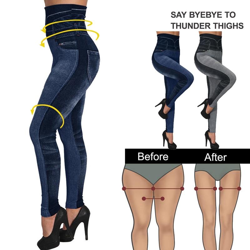 High Waist Jean Leggings Slim Elastic Seamless Pants Plus Size 3XL Skinny Pencil Pants Female Pocket Workout Running Leggings
