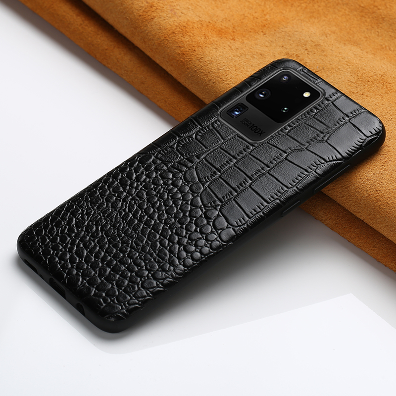 Lyxig äkta läderfodral för Samsung Galaxy S20 Ultra S9 S10 Note 10 Plus A10 A30 A40 A50 A51 Helt skyddsfodral