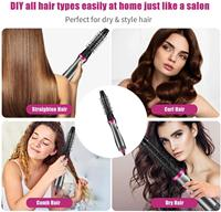 Multifunctional Hair Straightening 5 in 1 Hot Air Brush Styler Comb Brush Negative Ions Hair Styling Tool Blow Dryer Brush 5