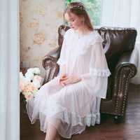2019 Sexy Victorian Sleep Wear Night Dress Vintage Nightgown Long Sleeve Nightdress Pink Cotton Sleepwear Women Nightshirt