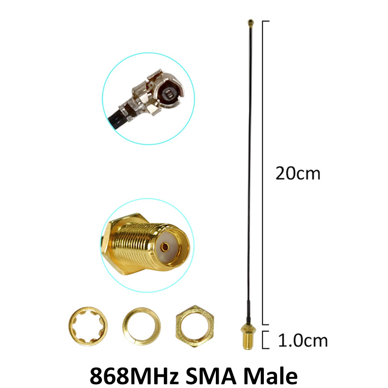 5pcs 868MHz 915MHz Antenna 2dbi SMA Male Connector GSM 915 MHz 868 MHz antena antenne waterproof 21cm RP SMA u FL Pigtail Cable in Antennas for Communications from Cellphones Telecommunications