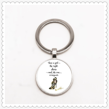 Beautiful shoe pattern keychain, she can conquer the world keychain ladies high heel keychain image