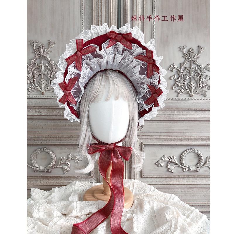 Gorgeous Tea Party Vintage Sun Hat Sweet Lolita Bonnet Princess Bow Multi-layer Lace Trimming Bow Soft Wire Brim Women Bnt