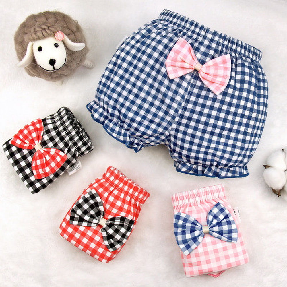 Baby Underwear Girl Cotton Plaid Shorts Baby Bow Shorts Summer Shorts 0-2Year