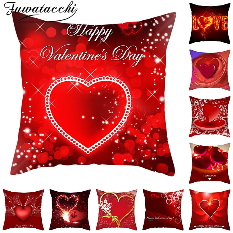 Fuwatacch IHappy Valentines Day Pillow Cover Love Forever Cushion Cover Printed Throw Pillowcase For Home Sofa Decorative Pillow
