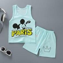 Disney Novo Conjunto de verão do Bebê de Mickey Mouse dos desenhos animados T-shirt + shorts de algodão meninos calções meninas T-shirt das crianças set