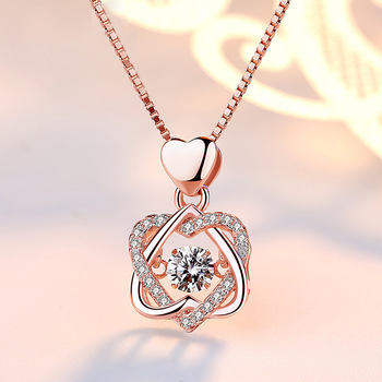 100% real Silver necklace with round zircon pendent  2