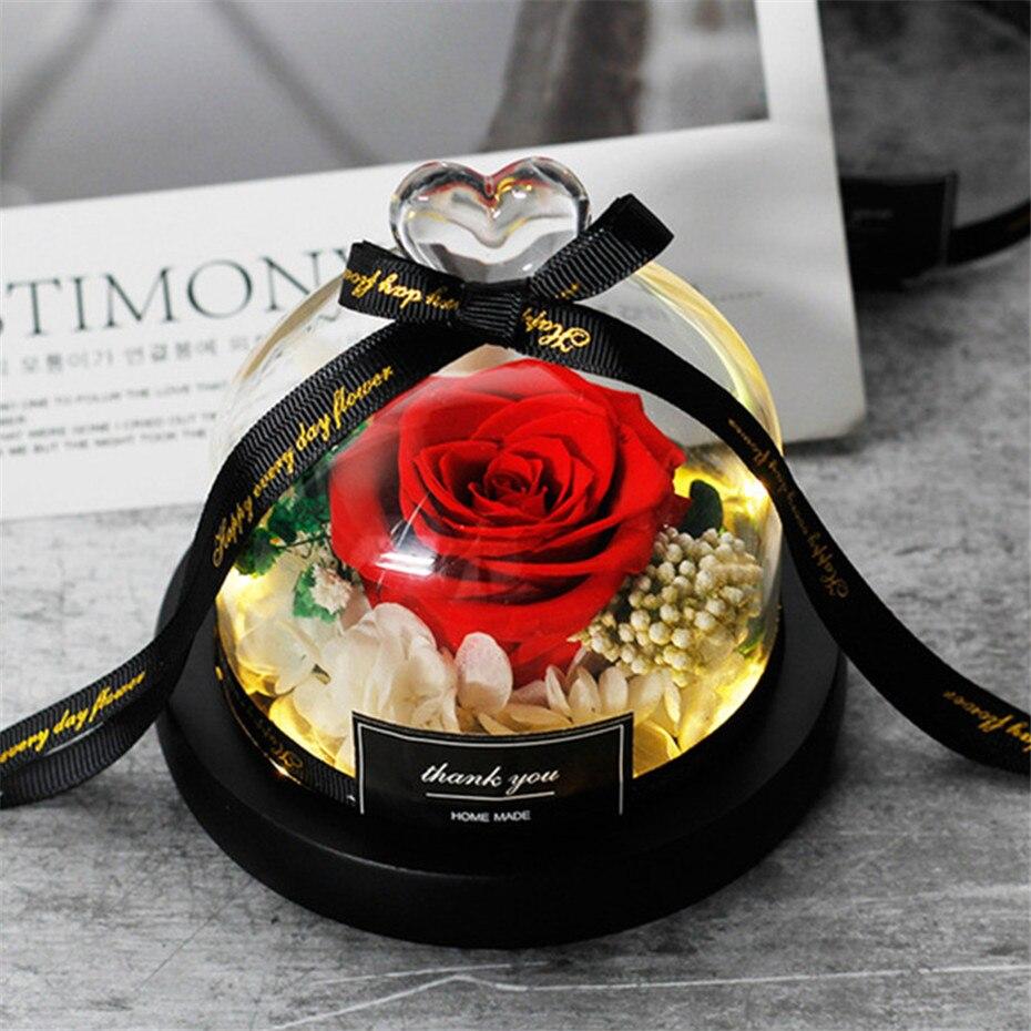 Бесплатная доставка настоящие розы в колбе стеклянный купол настоящая Роза Красавица и Чудовище сохраненный на День Святого Валентина под...