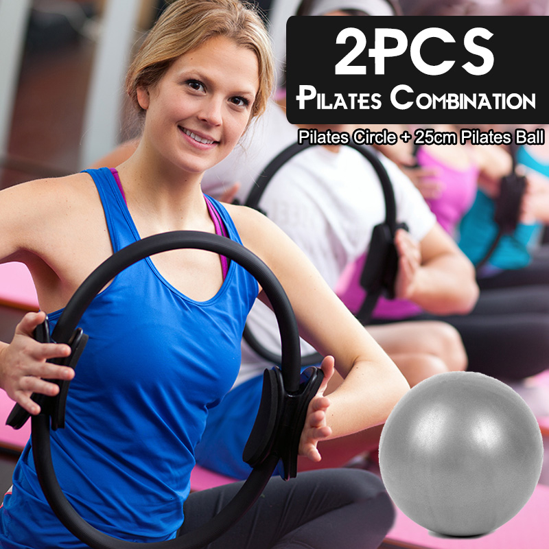 2PCS Pilates Magic Circle Yoga Ball&Ring For Muscle Exercise Pilates Combination Fitness Kinetic Resistance Gym Workout Circle(China)
