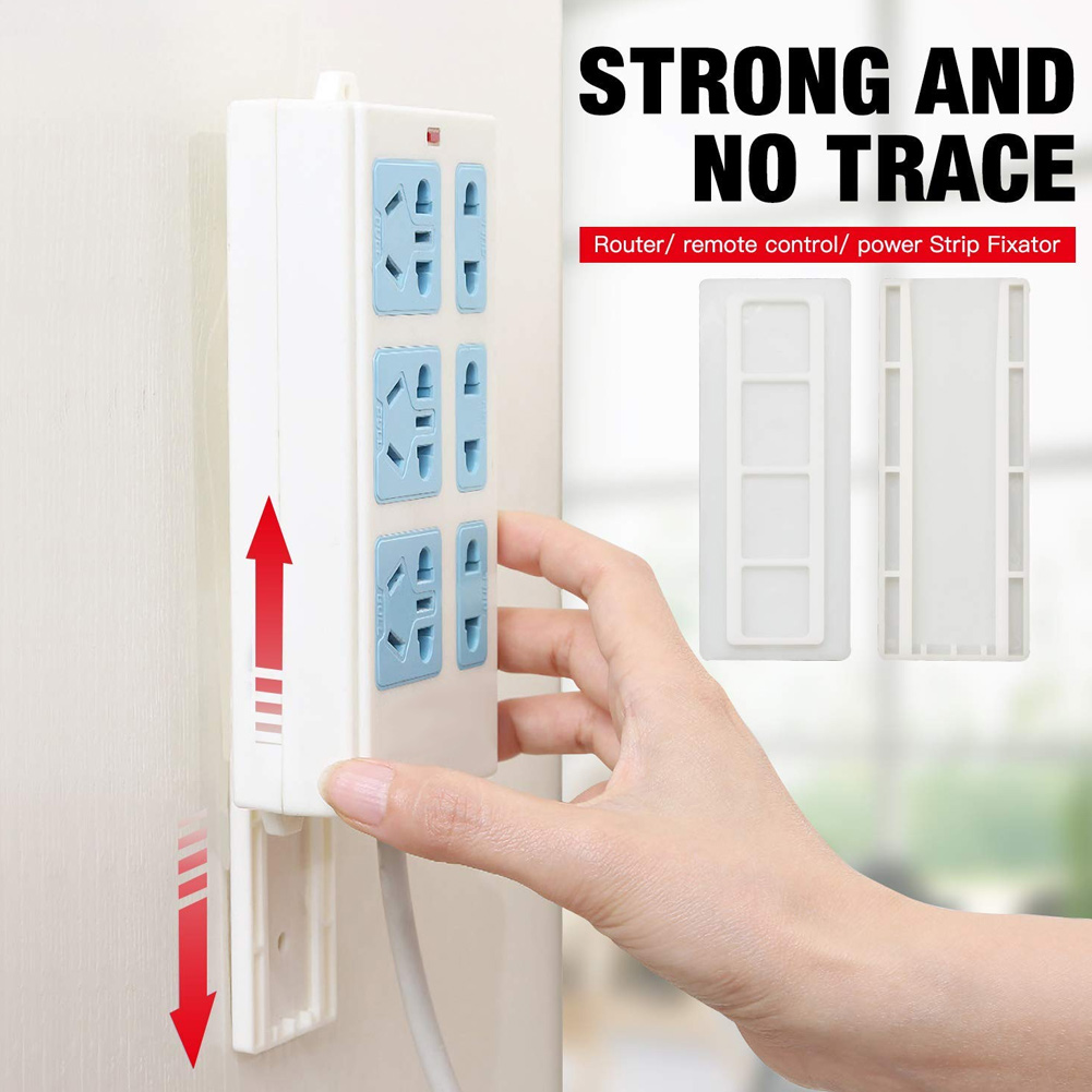 Seamless Punch-free Plug Sticker Holder Wall Fixer Power Strip Holders Storage For Sockets Wall Holders Shelf Stand Holder