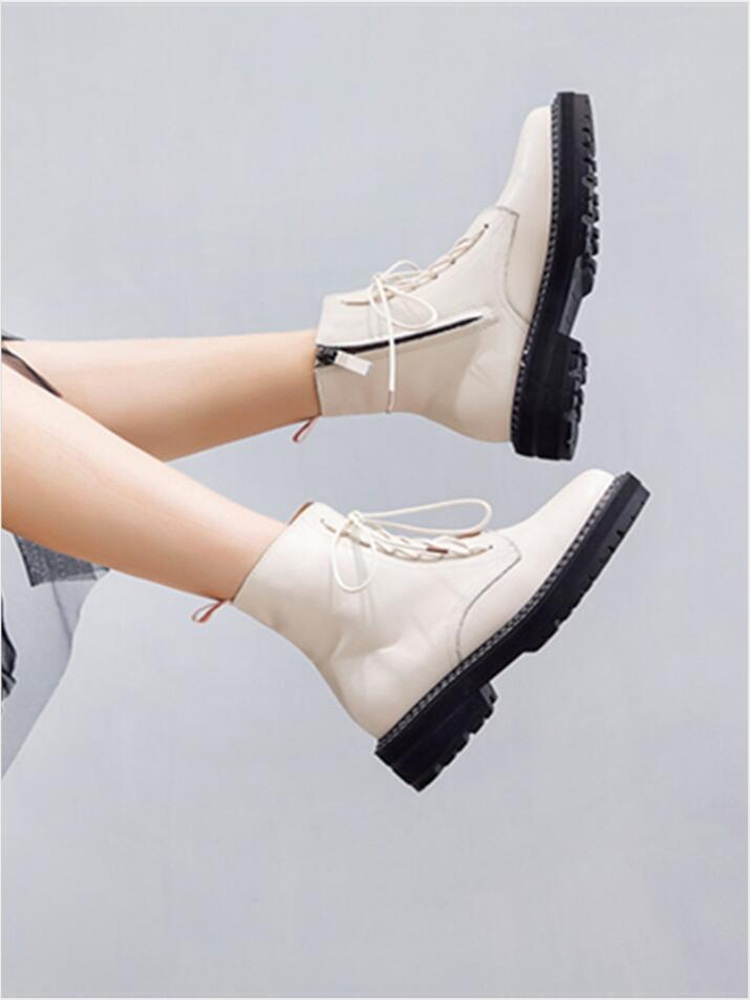AIYUQI Women Shoes Martin-Boots Lace-Up Female Autumn White Winter Genuine-Leather New