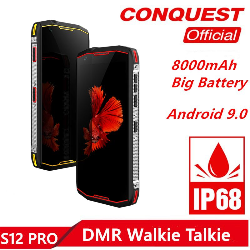 2019 New Conquest S12 Pro Rugged Cell Phone IP68 Waterproof 5.99 Inch IPS Android 9.0 MTK6771 DMR Walkie Talkie SmartPhone