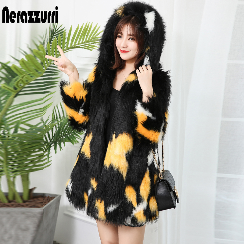 Nerazzurrri Multicolor Winter Faux Fur Coat Women With Hood Plus Size Fake Fox Fur Jacket Luxury Thick Warm Shaggy Fluffy Jacket