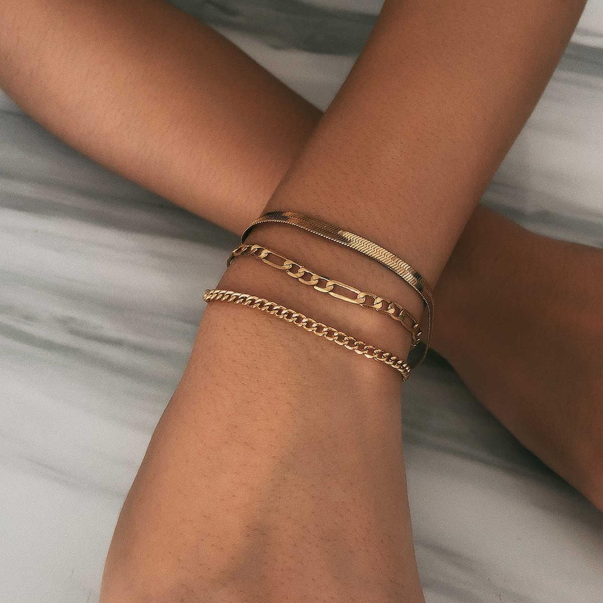 באיכות גבוהה Boho נחש שרשרת צמיד צמיד לנשים Armband פאנק רב שכבה כבד מתכת עבה שרשרת צמיד תכשיטי זוג