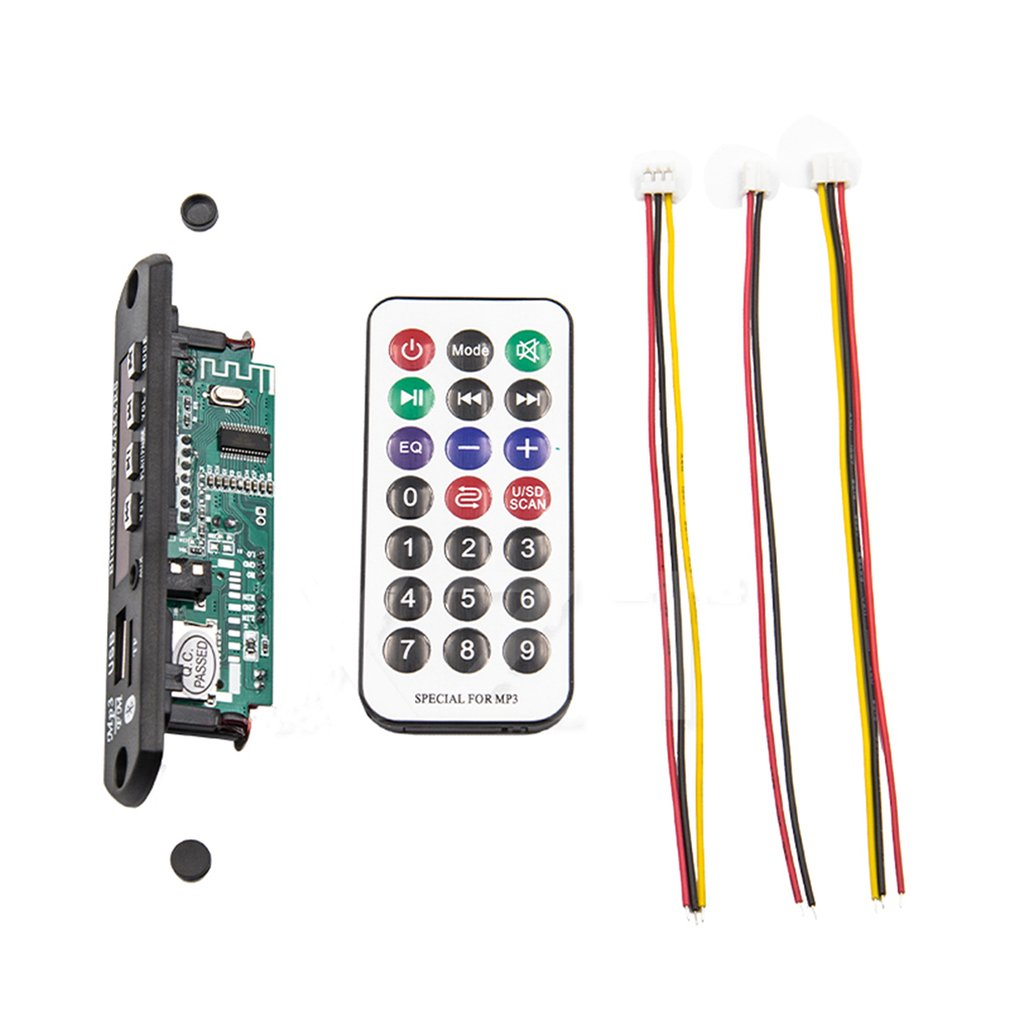 Wireless <font><b>MP3</b></font> WMA Decoder Board Remote Control Player 12V <font><b>Bluetooth</b></font> 5.0 USB <font><b>FM</b></font> AUX TF SD Card <font><b>Module</b></font> Car Radio <font><b>MP3</b></font> Speaker image