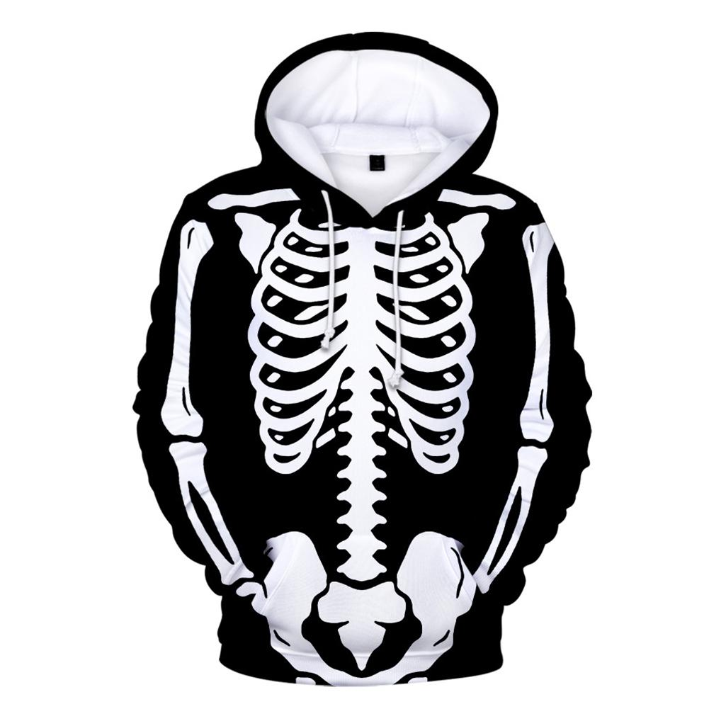 Halloween Bat Mens Pullover Hooded Sweatshirt Cap Pocket Printing Long Sleeve Tops Coats