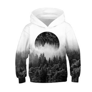 Image 4 - Czarny biały las 3D bluzy z nadrukiem dla nastoletnie dziewczyny chłopcy bluza z kapturem dla dzieci bluza z kapturem jesień zimowa odzież dziecięca sweter