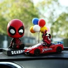 Figure-Doll Spiderman Deadpool Captain-America Car-Decoration-Toys Shaking-Head Cartoon