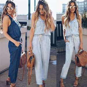 Overall Jeans Jumpsuit Rompers Long-Pants Wash Loose Plain Street-Blue Denim Sleeveless