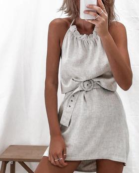 Verano cuello Halter con espalda descubierta vestido Casual Color sólido Mini vestido sin mangas