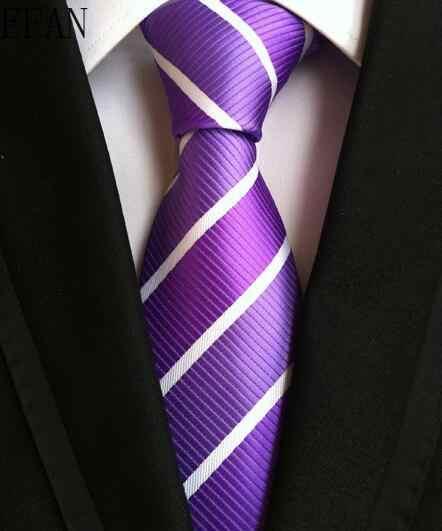 ربطات العنق الموضة الكلاسيكية الرجال شريطية الأصفر الأزرق الداكن العلاقات الزفاف الجاكار المنسوجة 100% الحرير الرجال الصلبة التعادل منقطة رباطات للرقبة