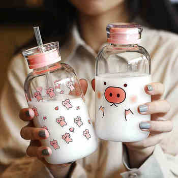 New 450ML Kawaii Pig Glass Water Bottle With Straw Cartoon Fashion Cute Drinking Water Bottles For Kids Girl Student Water Cup fashion glass frosted cup couple water cup waterbottle water bottle cute water bottle glass glass drinking set water jug