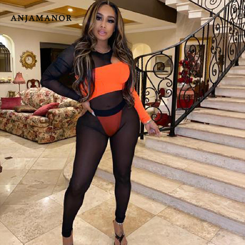 ANJAMANOR Sexy Jumpsuit Women Club Outfits Neon Orange Black Sheer Mesh Block Long Sleeve Bodycon Jumpsuits 2020 D37-AE04