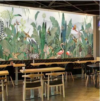 custom 3D large-scale wallpaper mural hand-painted plant forest flower and bird animal TV background wall decoration pain green plant forest 3d stereo tv background wall professional production mural custom photo wall