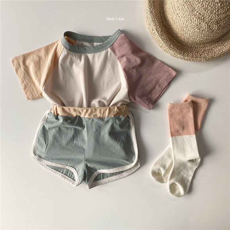 Cross-Border Korean  Summer New Girls And Boys Children Baby Cute Color Shorts Kindergarten Sports Suit