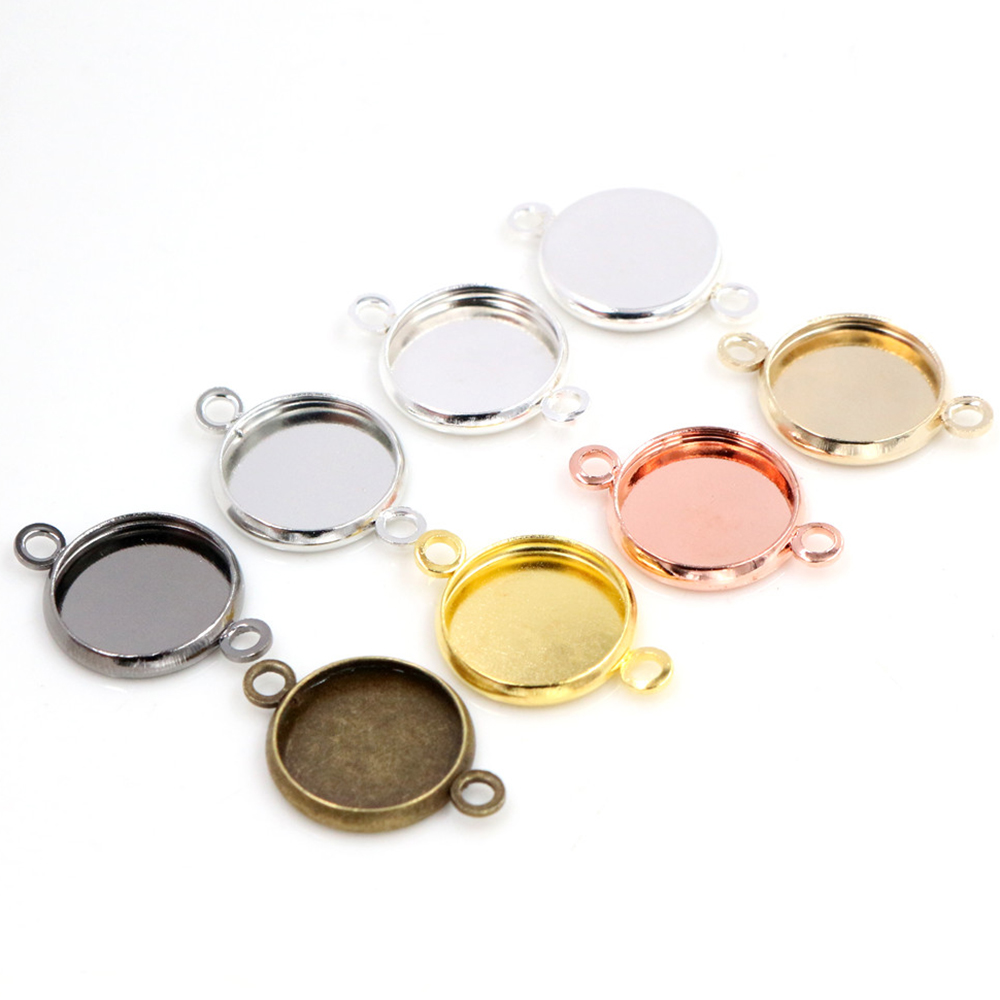 50pcs 12mm Inner Size Bright Silver Color Rhodium Rose Gold Color High Quality Iron Material Fit 12mm Cabochons Pendant Tray