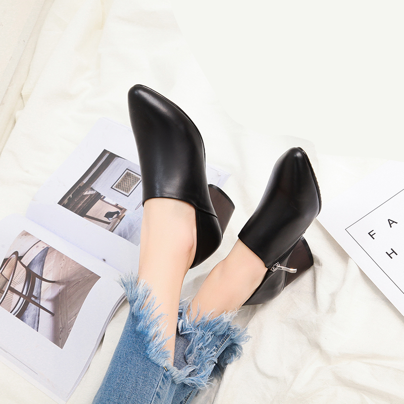 New Arrival Spring Autumn Women's Shoes High Heel Boots Fashion Casual  American And European Pop Genuine Leather Office Boots