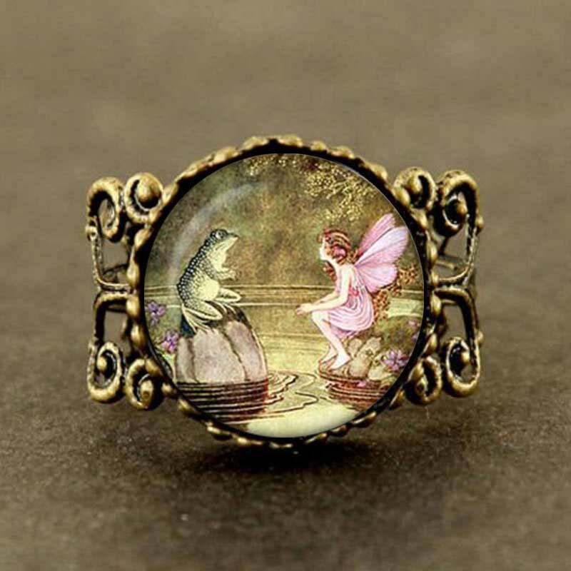 Новинка, кольца ручной работы, Винтажное кольцо Феи лягушки, кольцо Феи лягушки, ювелирные изделия, женские кольца