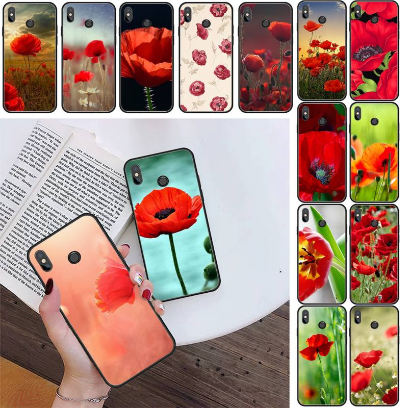 Red Poppies Poppy flowers Phone Case For Xiaomi Redmi 4X 5Plus 6A 7 7A 8 8A Redmi Note 4 5 7 8 9 Note 8T 8Pro 9Pro
