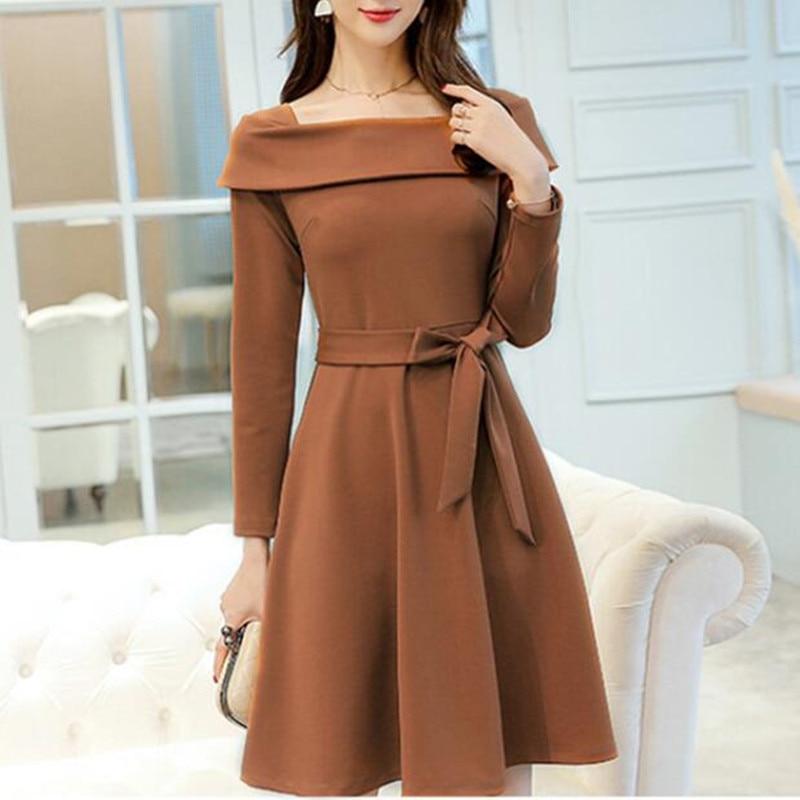 Women Dress Suit Ladies Office Wear Work Business Formal Long Sleeve Spring Autumn A-line Elegant Casual Dresses Female Vestidos