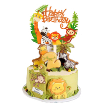 цена на Safari Party Cake Cupcake Decoration Happy Birthday Banner Safari Baby Shower Animal Party Balloons For Kids Birthday Decoration