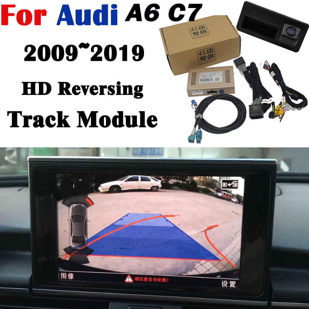 Rear camera For Audi A6 C7 2009~2020Adapter 8 inch Original Upgrading screen Display Backup Trunk Handle Camera Decoder
