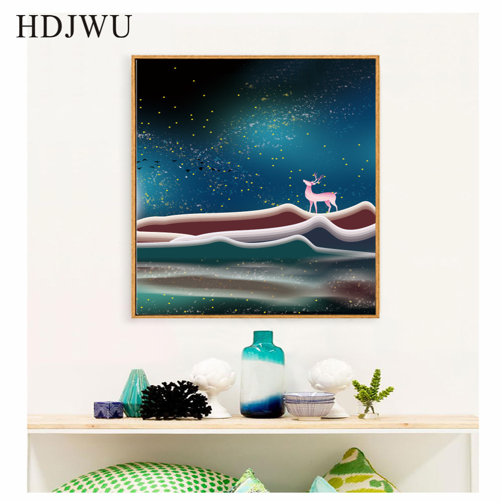 New Chinese Canvas Painting Wall Picture Art Home Forest Scenery Decoration Printing Wall Posters for Living Room Decor AJ00291 in Painting Calligraphy from Home Garden