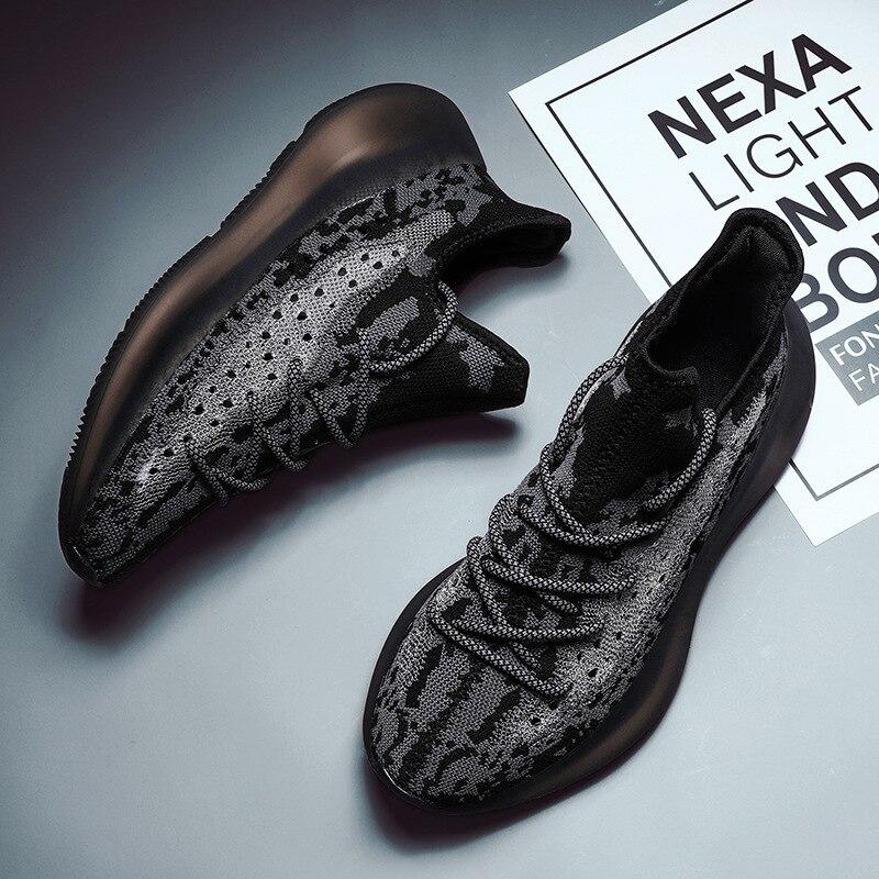 Новинка; мужская повседневная обувь Kanye West; дизайнерская Мужская дышащая обувь с сетчатым верхом; нескользящая Спортивная подушка; кроссовк
