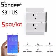 5 pces sonoff s31 eua inteligente wifi tomada monitor de energia uso remoto interruptor wi-fi trabalho com alexa google casa amazon ifttt