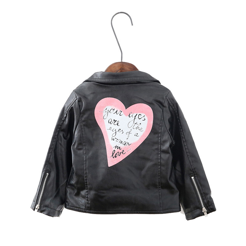 Winter Girl Kids Baby Heart Letter Outwear Leather Coat Short Jacket Clothes 05#