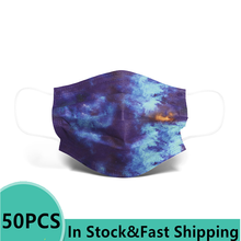 50PCS Printing Mask Universe Creative  Starry Sky Blue Mask Adult Mouth Mask Fashion Three-layer Non-woven Mondmasker Mascaras