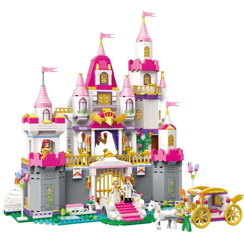 The Princess Castle Building Blocks Bricks Cinderella Belle Elsa Anna Figures Toys Castle Model DIY Educational Gift