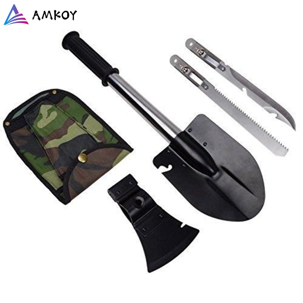 Four In One Folding Multifunctional Shovel Camping Axe Blade Outdoor Folding Saw Travel Garden Camping Tools High-carbon Steel