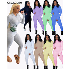 FAGADOER Women Lucky Label Letter Bodycon Jumpsuit Solid Elegant Playsuits Ribber Zipper Overalls 2021 Fashion Skinny Rompers