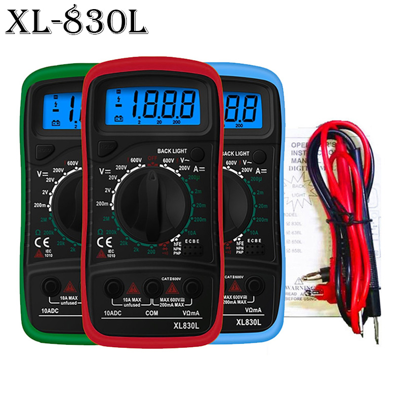 New Portable Digital Multimeter Backlight AC/DC Ammeter Voltmeter Ohm Tester Meter XL830L Handheld LCD Multimetro