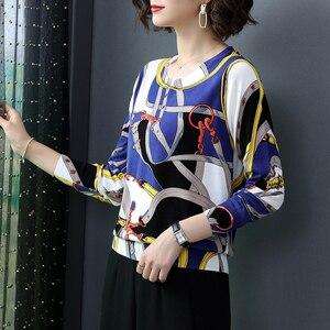 Image 2 - YISU سترة النساء 2019 الخريف جديد بلوفرات س الرقبة محبوك البلوز سلسلة الموضة المطبوعة البلوز الإناث بلوزات عالية الجودة