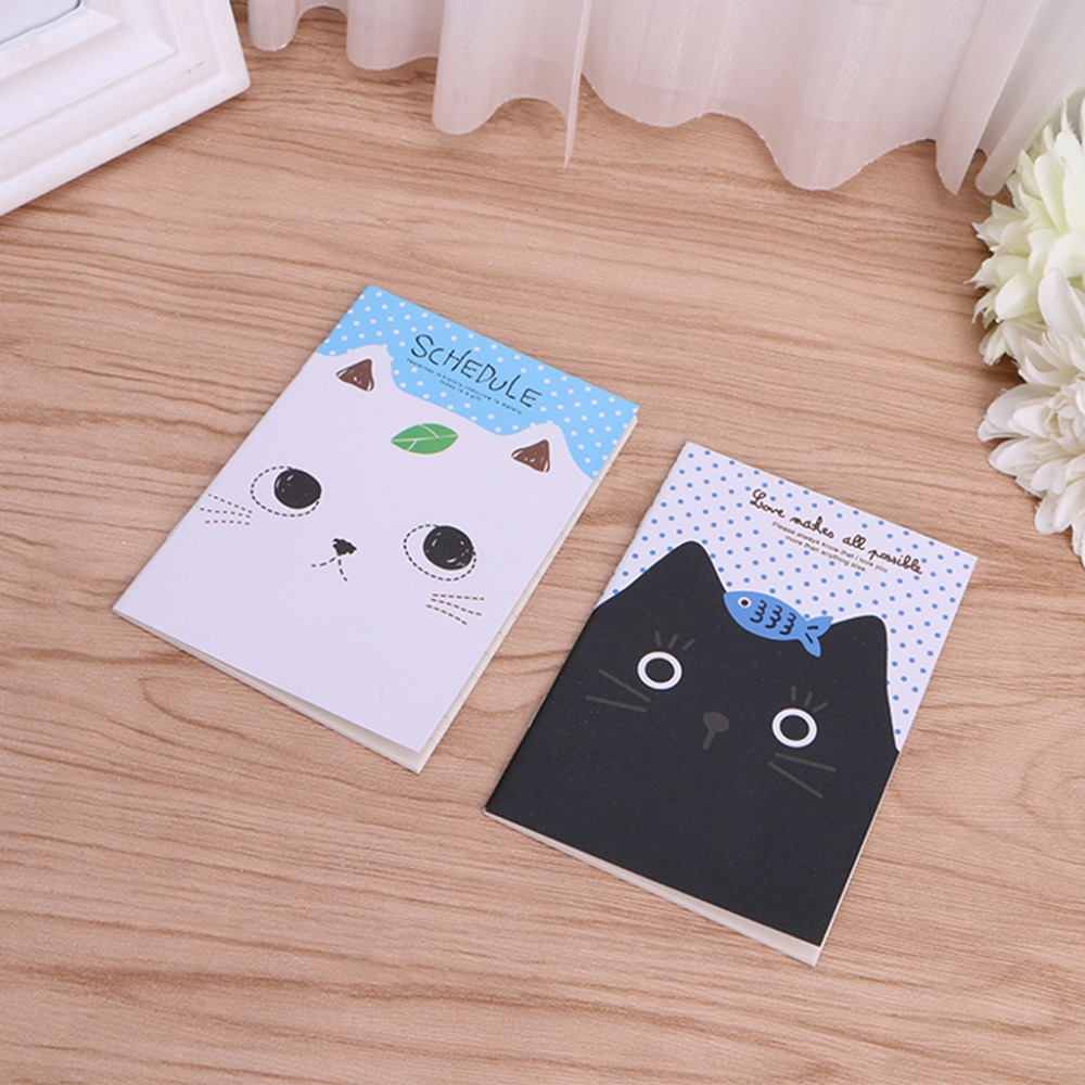 1Pc Korean Stationery Notebook Office Supplies School Creative Cartoon Cat Style Filofax Notepad Diary Students