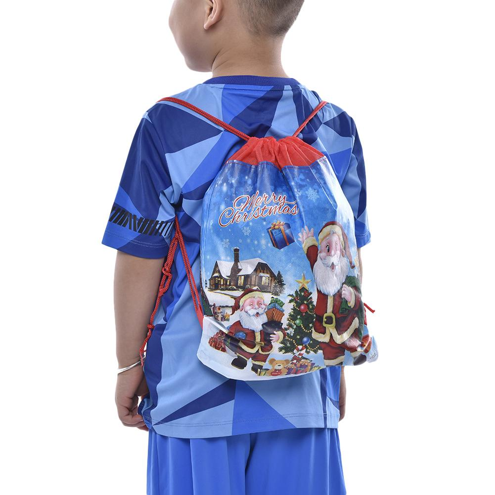 Santa Claus Bag Non-woven Reusable Drawstring Santa Sack Candy Bags Christmas Boys Girls Holiday Party Decorations Backpack Gift