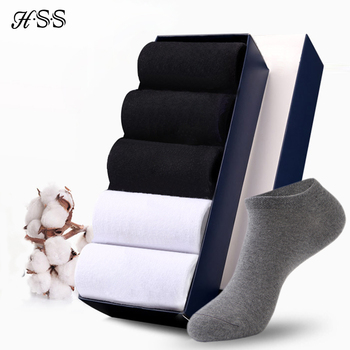 HSS Brand 100% Cotton Men Socks Summer Thin Breathable High Quality No Show Boat Black Short For Students Size 39-44 - discount item  63% OFF Men's Socks