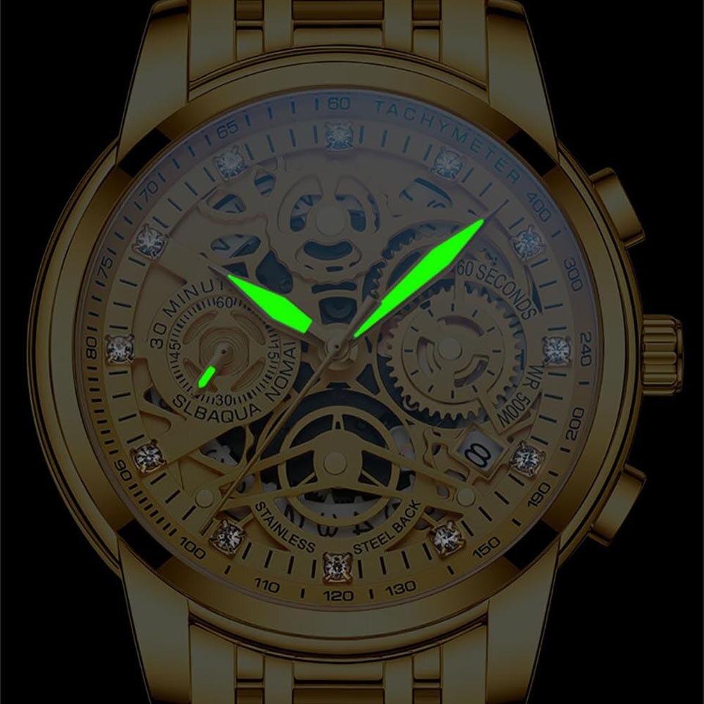 2021 NEKTOM Fashion Casual Men Watch Stainless Steel Golden Men Wristwatch Luxury Business Watch Relogio Masculio Gift for Men 3